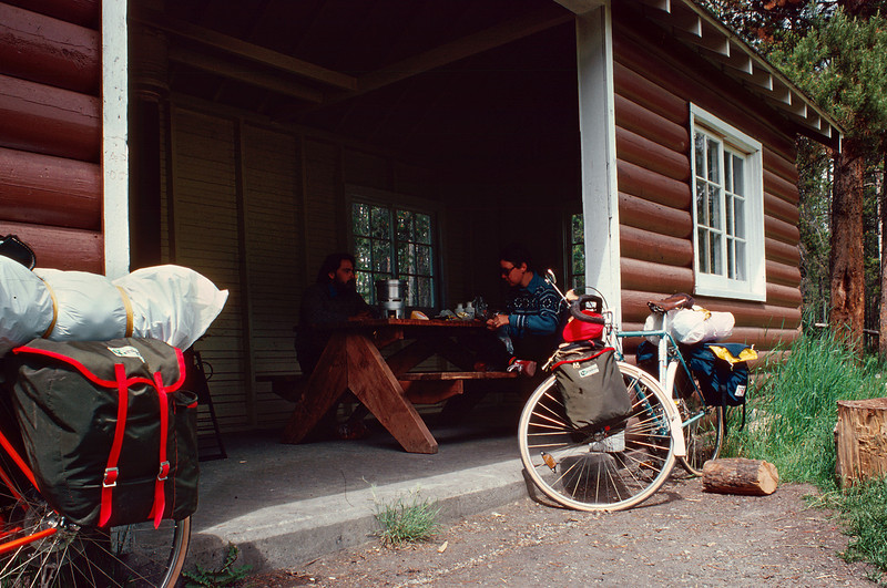 Lunch break in a sheltered pavilion, Canadian Rockies, summer 1977.