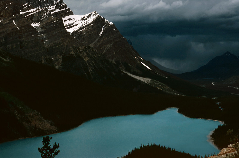 Peyto Lake seen from the summit of Bow Pass; Banff National Park, British Columbia, Canada. Summer 1977.