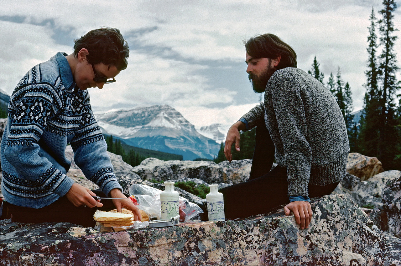 Rita and Gary making a road-side lunch in Banff National Park. After Rita learned the Canadian park rangers use sardines for bait in their bear traps, she refused to open a can unless there was good visibility all around.