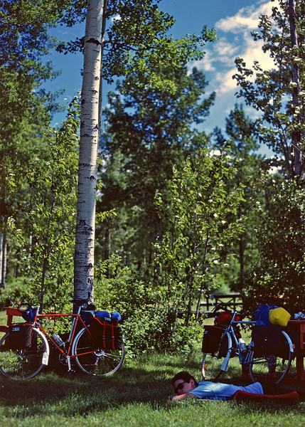 Rita, resting beside some aspens after a long day in the saddle. Somewhere in Alberta, sometime in June 1977.<br /> <br /> This far north summer days are very long. First light at 4 AM, and twilight lingers until 11 PM.