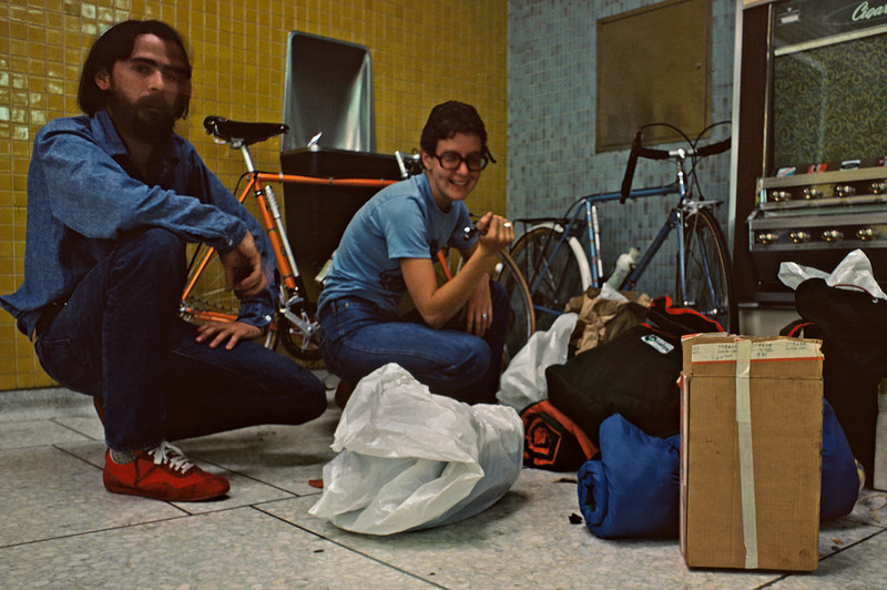 Gary and Rita putting the bikes together in the Edmonton airport. 1 AM, June 21, 1977.