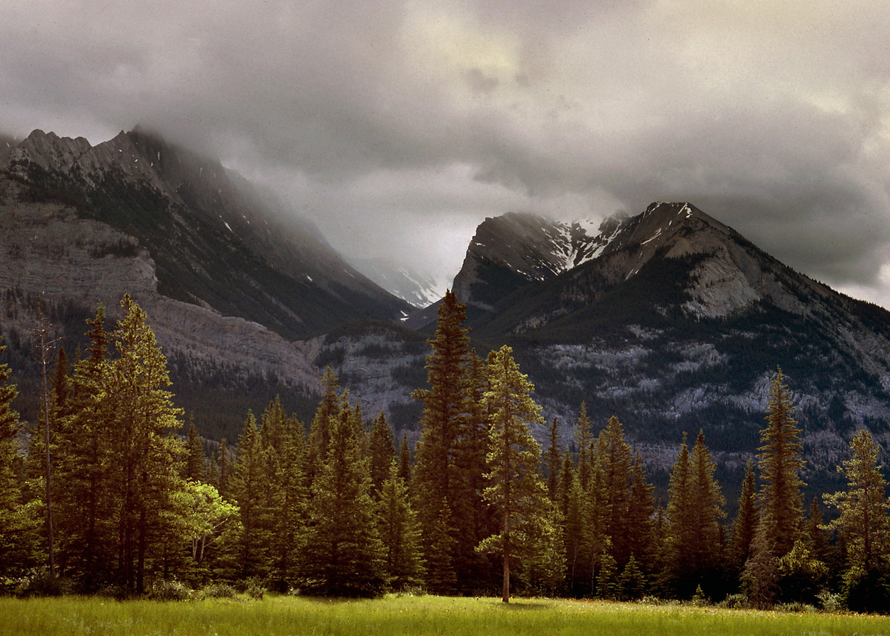 Low clouds over the Canadian Rockies. Jasper Naational Park, summer 1977.