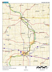 TOMRV, 2005: the long route. Day 1, Bettendorf to Dubuque through Illinois, 106 miles; Day 2, Dubuque to Bettendorf Iowa side, 88 miles. Also, 8650 feet of climbing.