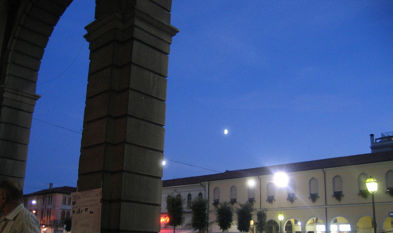 Moon rising over San Dona di Piave, Italy on my first night on foreign soil