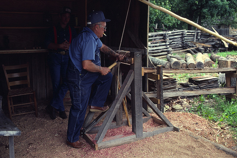 Mountain View, AR, the Williamsburg of The Ozarks (Foot Powered Lathe Making Wood Chips)