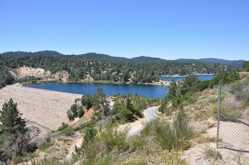 It's an earth-fill dam.  There is no evidence of the big fires here.  They didn't reach the ridges around the lake.  But behind me here just about 1000 feet down the canyon the burn area starts (and goes all the way to Butler Peak at Big Bear).