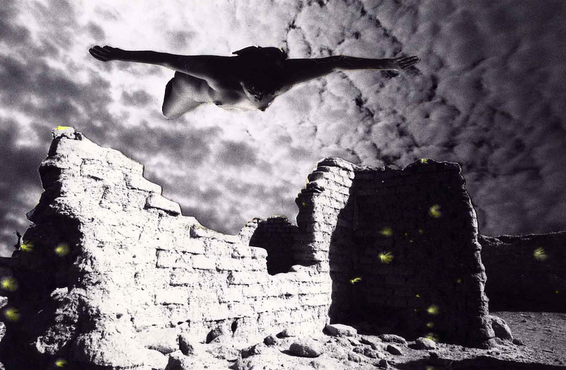 "ABAJO DREAM<br /> <br /> One of the assignments of the trip was to do a photo collage, so I took a shot of the adobe ruins at Terlingua Abajo and tacked them over the ""day-for-night"" shot of the sky. Not satisfied with just that, I mulled it over for a while, then cut out a nude shot from the Monahans Sandhills session and added her floating overhead. That worked! The feathery things you see are static bursts from cranking the film too fast through the camera. I highlighted them yellow to give them extra appeal."