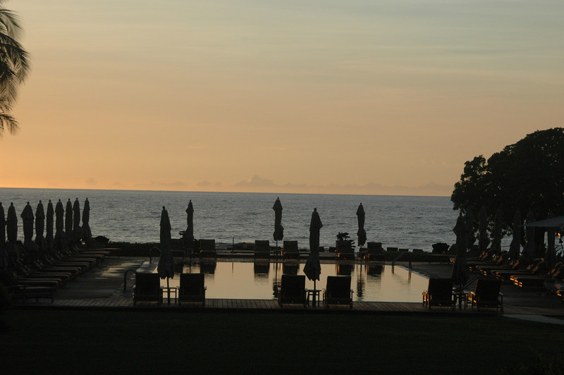 A sunset view of the pool where we spent many days enjoying the sunshine.
