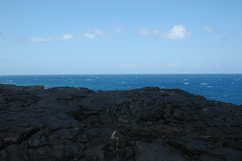 The black lava makes a nice contrast with the blue of the ocean.