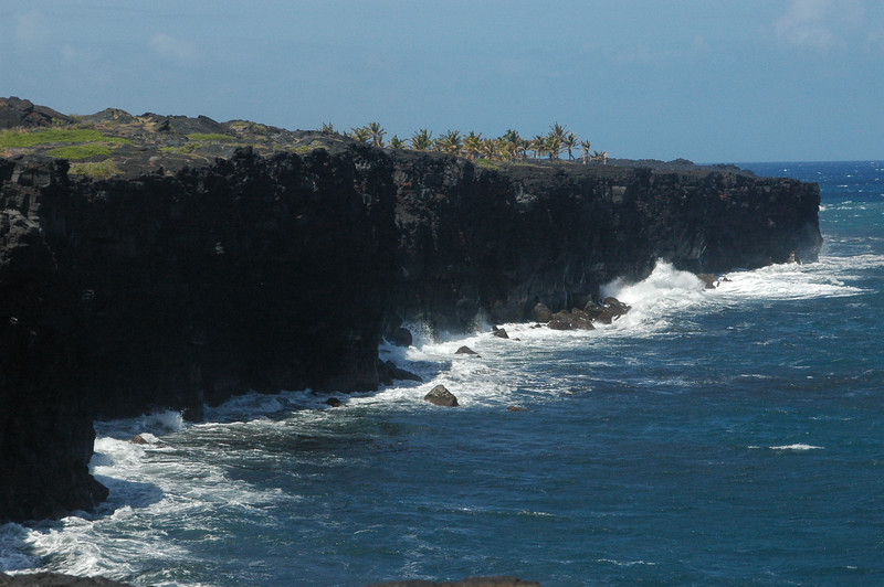 The coastline at the edge of Hawaii Volcanoes National Park is very rough.  This is where hot lava flows into the sea creating new land.