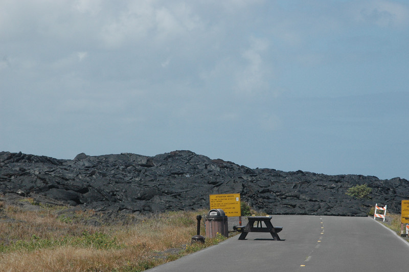 This is the Chain of Craters Road, which descends 3,700 feet in 20 miles and ends where lava flows crossed the road in 2003.