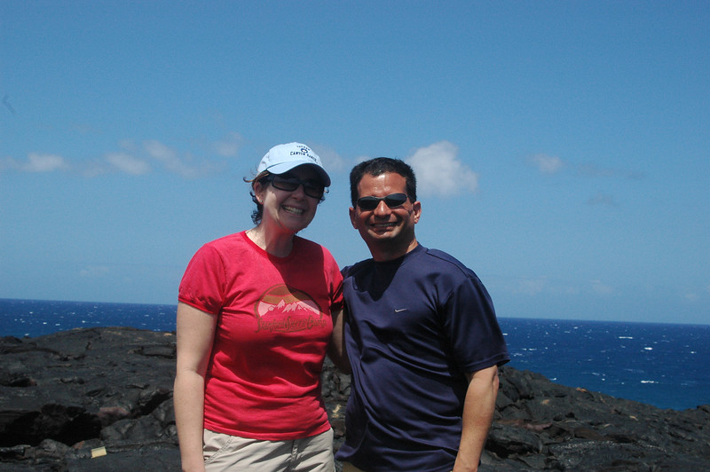 Sherri and Neil by the ocean at the end of the Chain of Craters road.