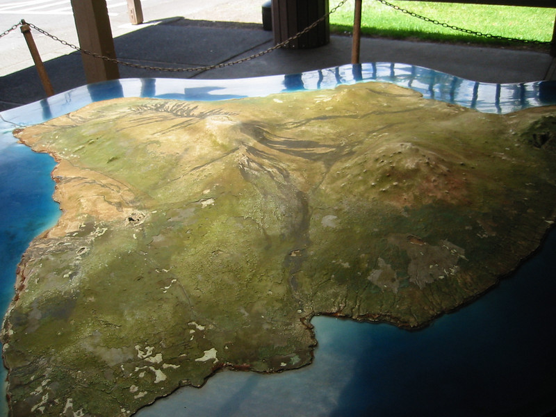 A model of the Island at Volcano's National Park.