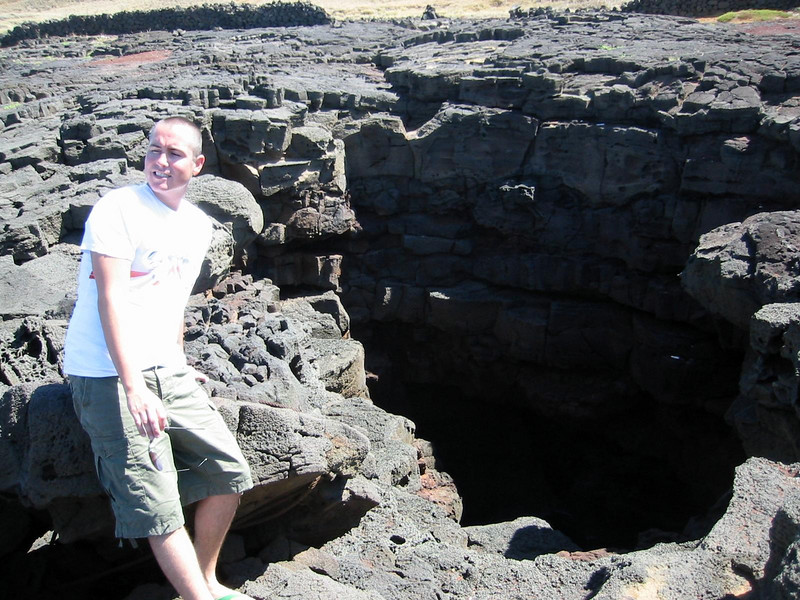 Big lava hole down to the sea.  Don't fall in Jason.