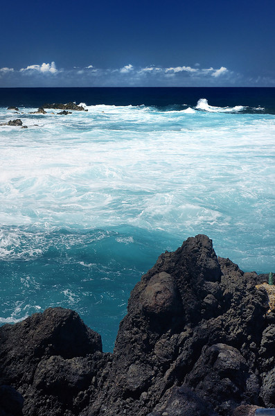 Our first sight of the green waters - off Laupahoehoe State Park along the Hamakua coast.