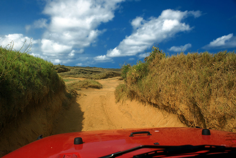The middle part of the 4WD track to the Green Beach is the easiest - as it goes through some fine mustard colored hard soil.