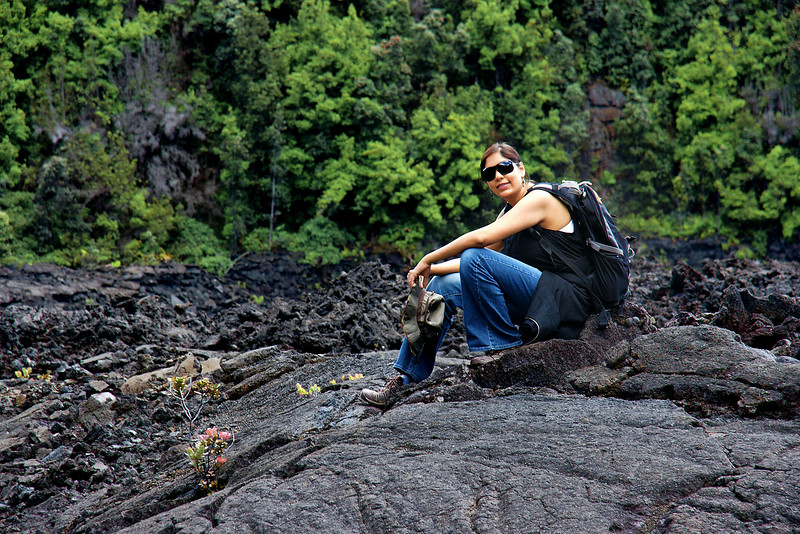Karishma rests on a lava ledge in Kilauea Iki crater.