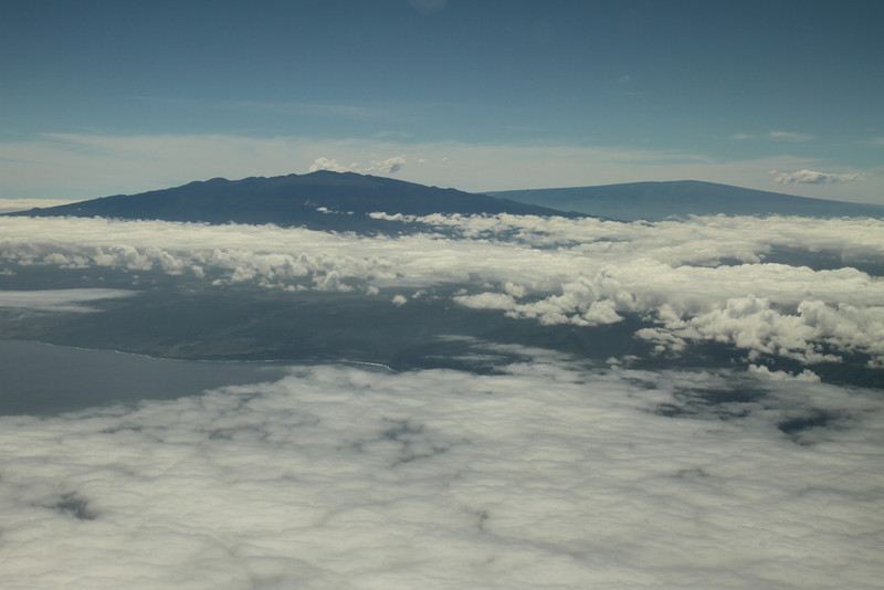 Mauna Kea with Mauna Loa in the background from the plane as we approached the Big Island