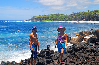 Yours truly, and my son, Evan   July '07 One of his favorite places to surf near his home in Hilo.