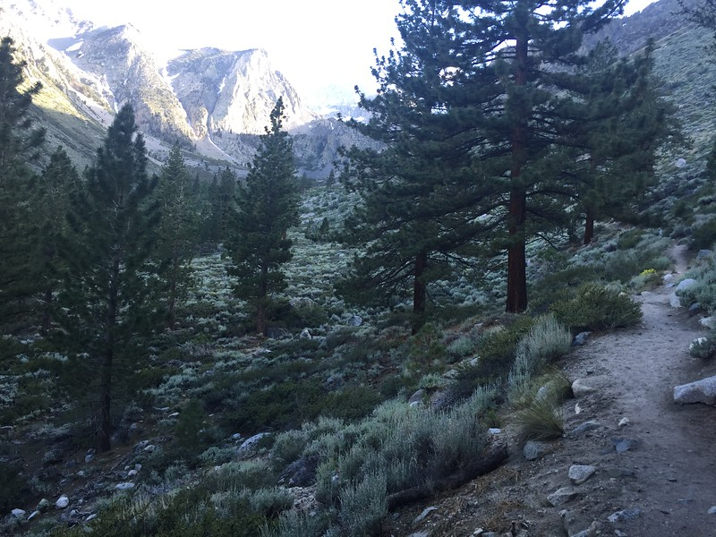 The hike up to the top of First Falls has a bunch of switchbacks. This view is over to the South Fork of Big Pine Creek.