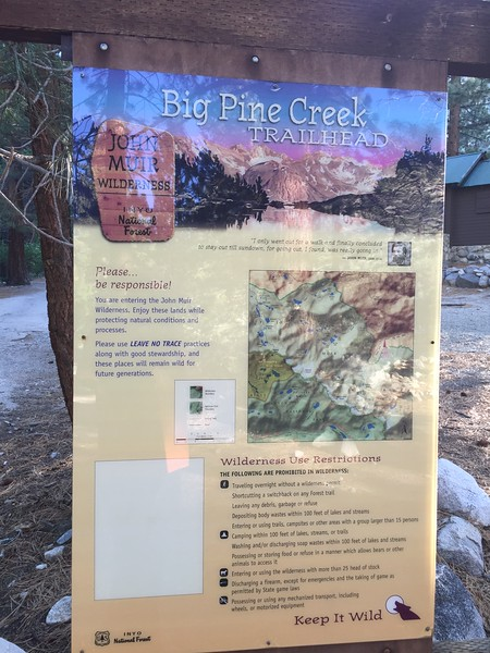 That evening, I walked over to the trailhead for Big Pine Creek.