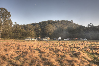 The sun hitting our campsite on Sunday morning.