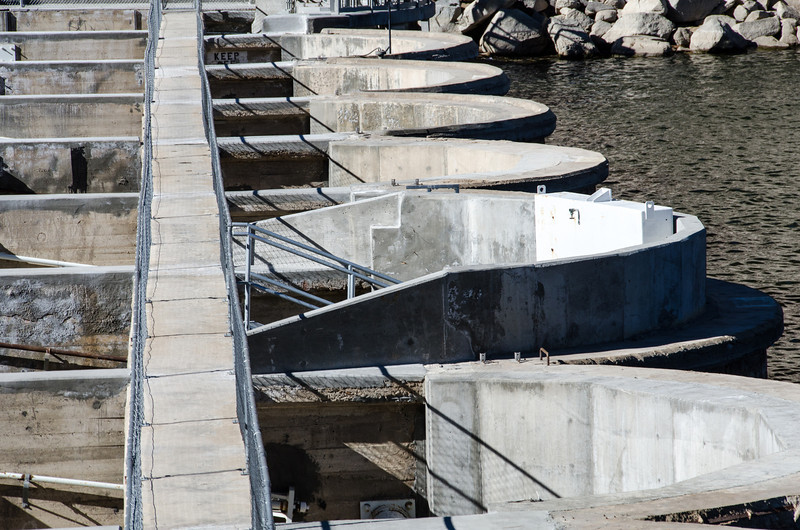 """<span id=""""title"""">Dam</span> Here's the Big Bear dam itself, with a human-sized walkway where the road used to go. This dam was built in ??????????????"""