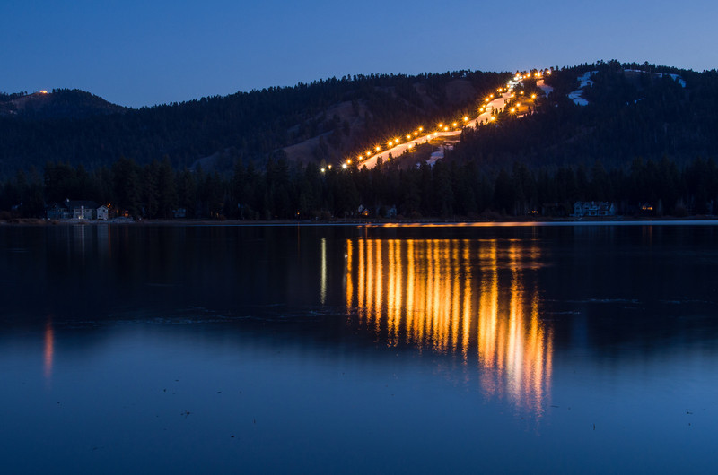 """<span id=""""title"""">Run</span> One of Big Bear's ski runs. I'm not positive if this is Snow Summit or Bear Mountain, but it was the only one that was lit up."""