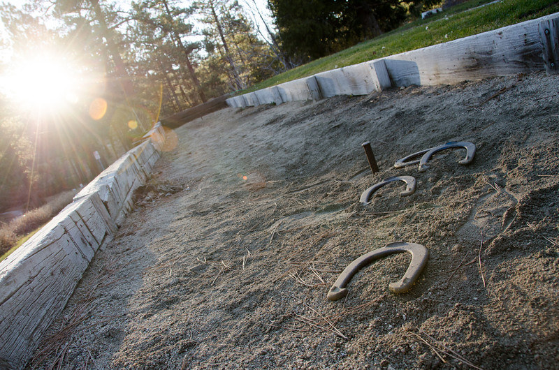 "<span id=""title"">Horseshoes</span> A horseshoes pit at Oak Knoll Lodge, where we rented a cabin for the weekend."