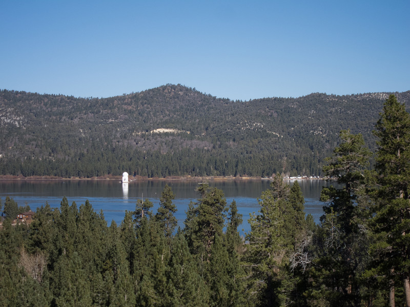 "<span id=""title"">Observatory</span> This was taken from the top of the alpine slide. The bright white building is a solar observatory that it out on the lake. It has it's own website: <a href=""http://www.bbso.njit.edu/"">Big Bear Solar Observatory</a> It was closed for tours because it's getting an upgrade. Maybe next time."
