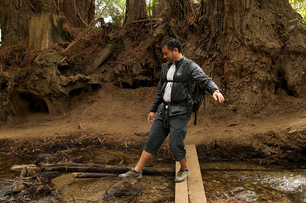 Testing the waters - Mik at the start of our hike up Ewoldsen Trail, a popular trail in Julia Pfeiffer state park.