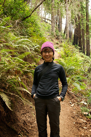 Me - my favourite hiking toque is a bit overkill, even in Northern California.  I put it in our backpack pretty quickly after this picture