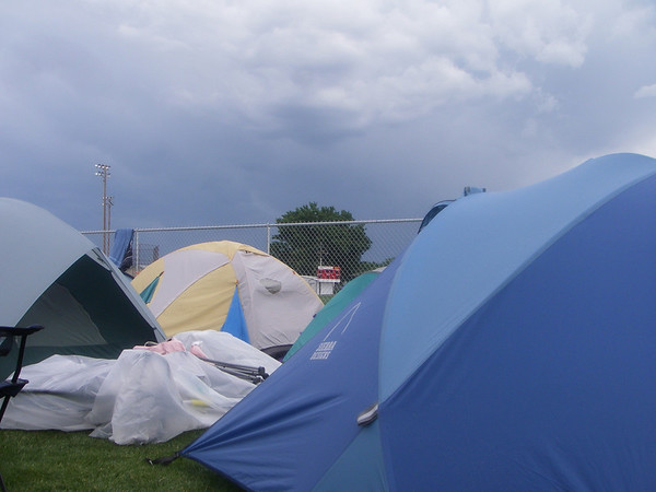 tent ghetto, Montrose, CO - about to get wet