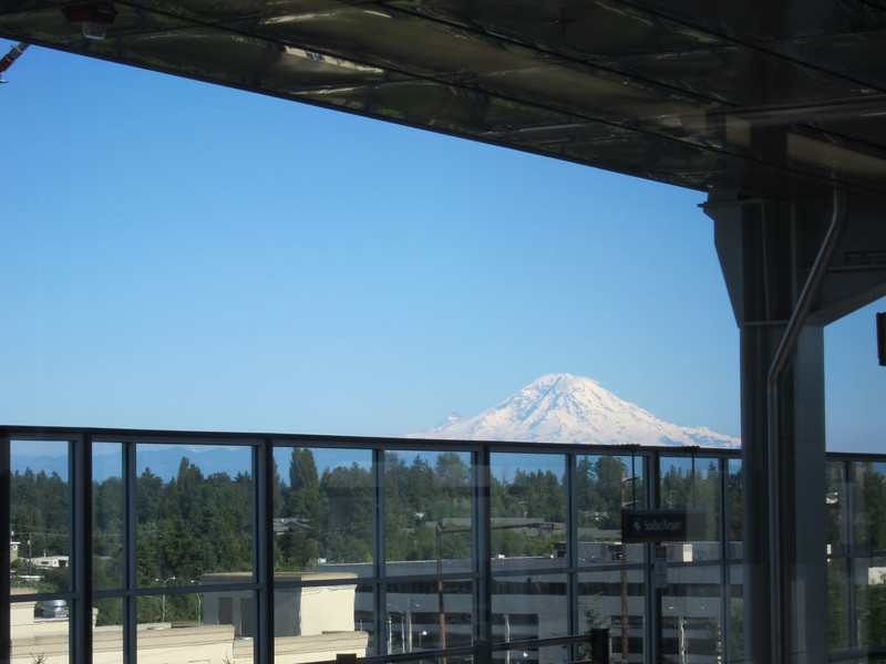 I flew into Seattle on Saturday, June 26, 2010, and took the light rail to Bev's hotel in downtown Seattle. Bev had been there a few days for an epidemiology conference. This is the view from the light rail station at the airport.