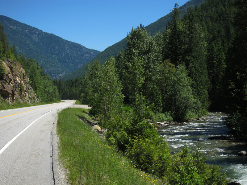 We coasted for 20 miles down the east side of Kootenai Pass.