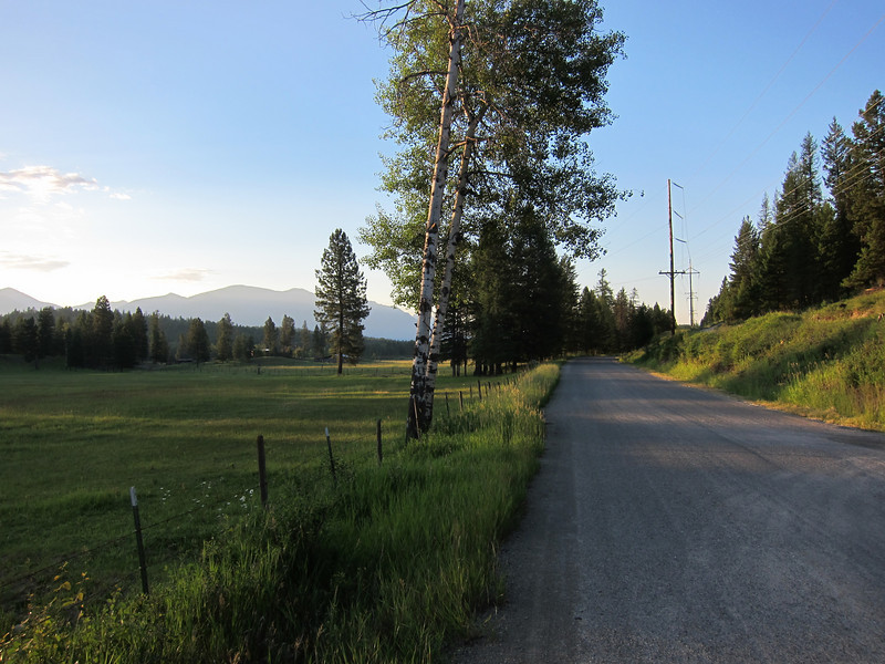 On Monday we got an early start, riding from Eureka to Whitefish, because Ken had to catch a flight at 5 and strong winds were predicted. The first seven miles were a pleasant back road.
