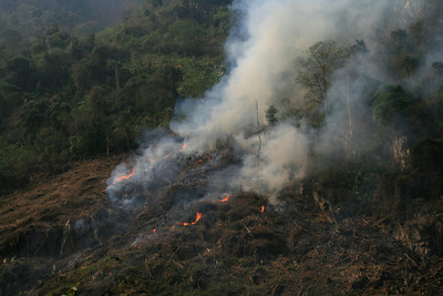 The burning was much more extensive in Laos but we got to see it up closer in Vietnam. March is apparently the season when for some reason they burn their fields and forests - possibly to clear the land for the next planting - but we weren't sure.