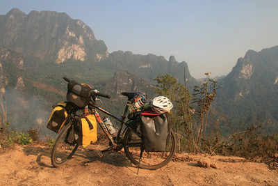 My expedition-style touring bike in the Laos mountains!
