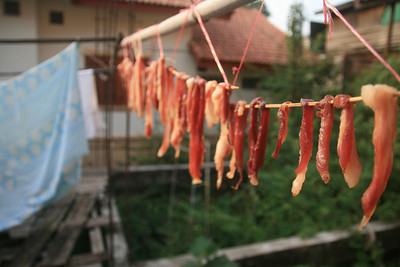 Meat hanging to dry next to the bed-sheets at our guest-house. (Adam's caption: People don't wear socks here, they put on slabs of meat.)