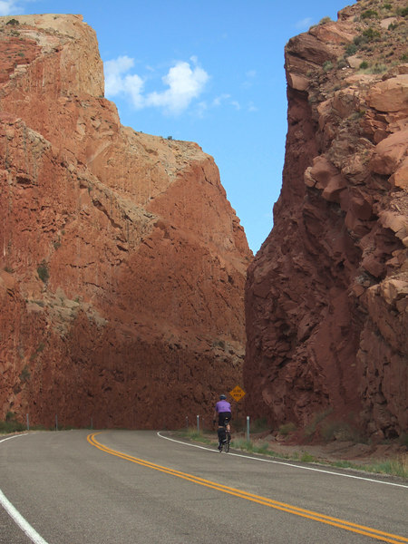 Here I am riding through an amazing road cut.