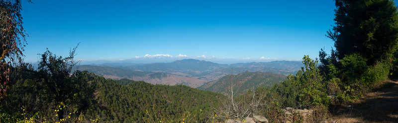 Panoramic view. On the way to Club Mahindra Binsar Valley Resort. The resort is perched high up in the Kumaon Himalayas and offers breathtaking view of the snowy mountain ranges.