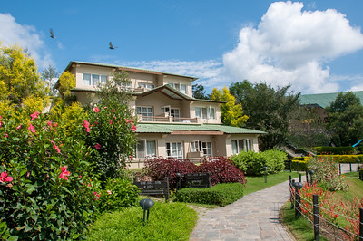 Beautiful day at the Club Mahindra Binsar Valley Resort in the Kumaon Himalayan range. Binsar offers a breathtaking view of the snowy mountain ranges of Panchchuli, Shivling, Chaukhamba, Trishul and Nanda Devi.
