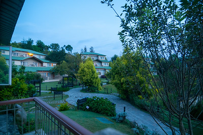 View from the cottage at Club Mahindra Binsar Valley Resort in the Kumaon Himalayan range. Binsar offers a breathtaking view of the snowy mountain ranges of Panchchuli, Shivling, Chaukhamba, Trishul and Nanda Devi.