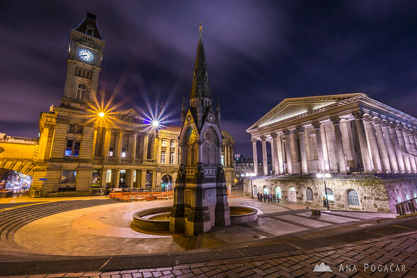 Chamberlain Square with Birmingham Museum & Art Gallery and Town Hall at night