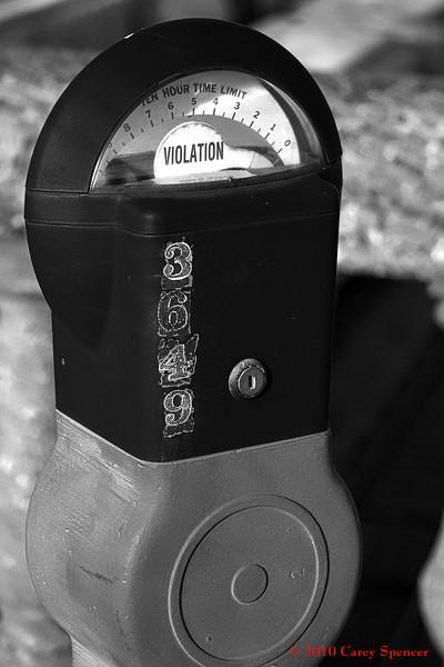 Black and White Photograph Violation Parking Meter Birmingham, Alabama