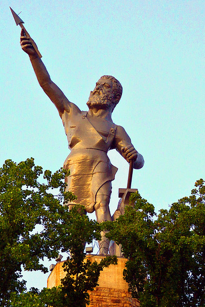 Vulcan Statue in Birmingham Alabama is the World's Largest Cast Iron Statue.  It stands 56 feet tall and weighs over 50 tons.  You can visit the statue, museum, and park located atop Red Mountain overlooking the City of Birmingham.