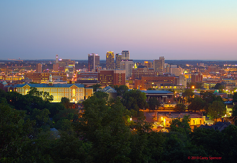 Birmingham, Alabama Skyline right before dawn.