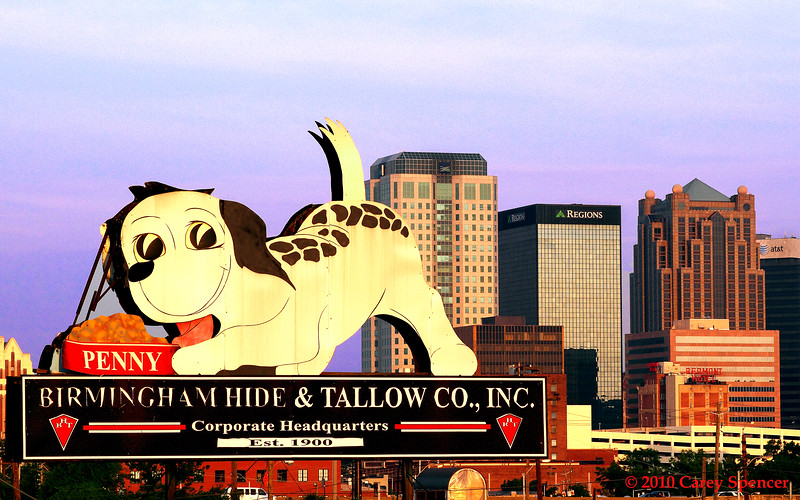 Color Photograph Birmingham Alabama Skyline at Dawn with Birmingham Hide and Tallow sign