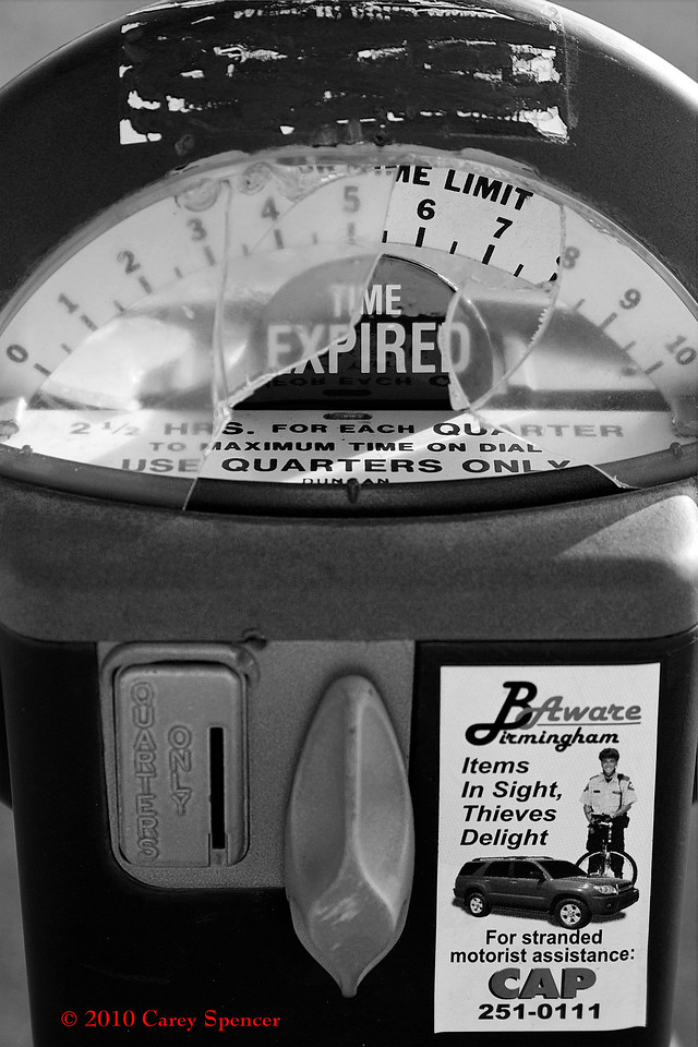 Black and White Photograph Busted Time Expired Parking Meter Birmingham, Alabama