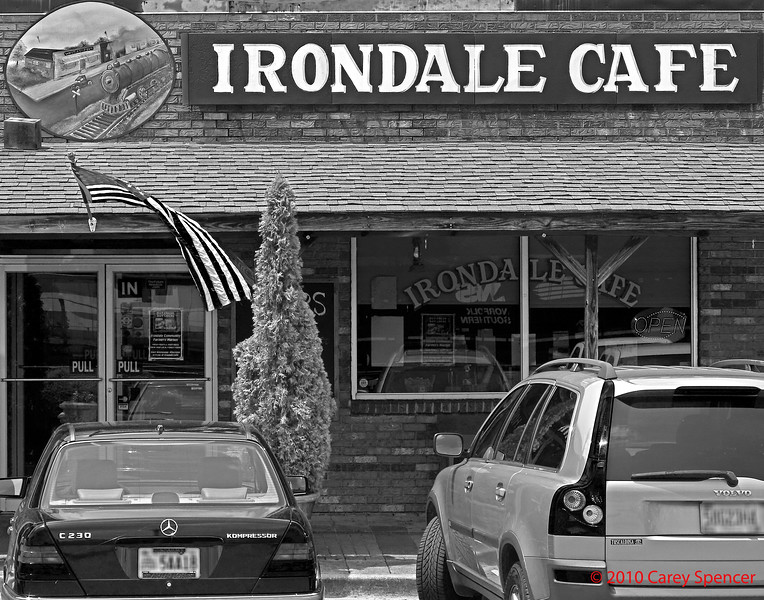 """Irondale Cafe in Irondale, Alabama.  Made famous by Fannie Flag (Bess Fortenberry's niece) in her book """"Fried Green Tomatoes"""" and the movie by the same name.  Bess Fortenberry purchased the """"Stand"""" restaurant in 1932 and named it Irondale Cafe.  Although under new ownership, some cooks remain and hundreds of lbs of fried green tomatoes are served weekly along with many of the traditional menu items."""